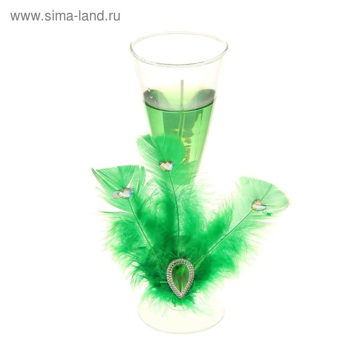 "Свеча гелевая ""Перо"", цвет зеленый"