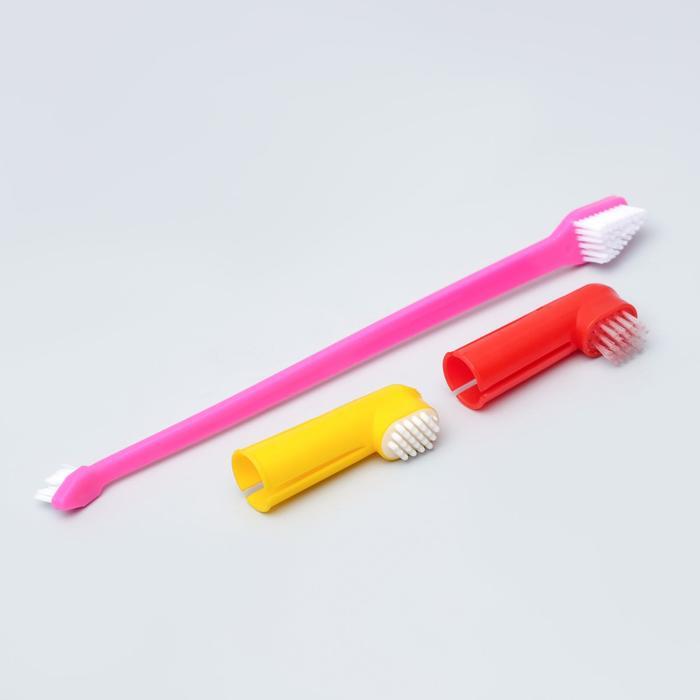 """Набор """"Зубная щетка двухсторонняя + щетка напальчник + массажер для десен"""" (набор 3 шт)"""