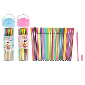 Фломастеры 24 цвета Полоски Мяч в пластиковом тубусе с ручкой,вентилируемый колпачок,МИКС Ош