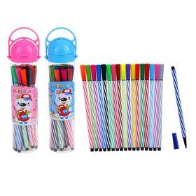Фломастеры 18 цветов Полоски Мяч,в пластиковом тубусе с ручкой,вентилируемый колпачок,МИКС Ош