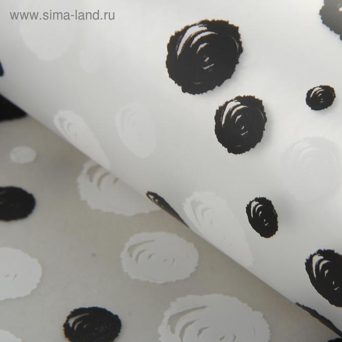 """Пленка матовая прозрачная """"Воздушные розочки"""", цвет черный и белый"""