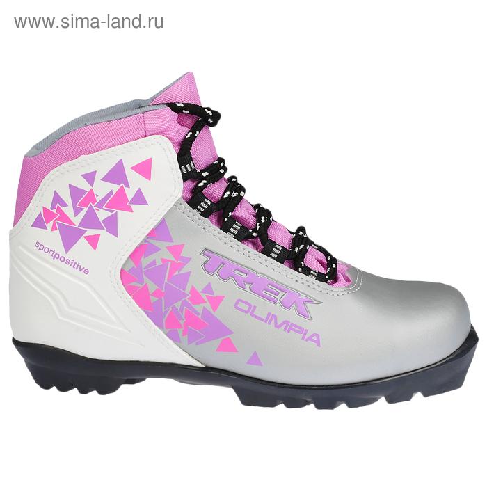 Ботинки лыжные TREK Olimpia NNN ИК, цвет серебристый с сиреневым (р. 42)