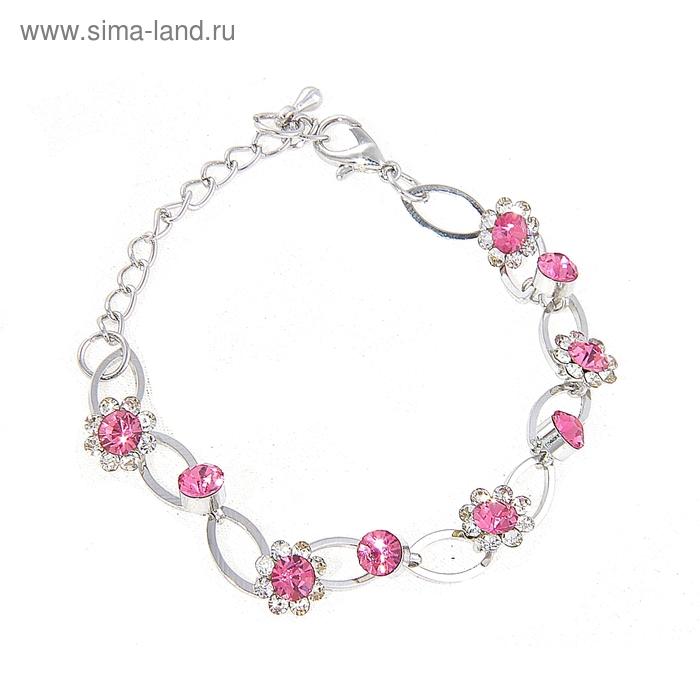 """Браслет """"Мерцание"""", цветы, цвет бело-розовый"""