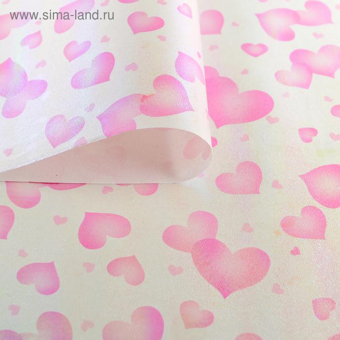 """Бумага упаковочная перламутровая """"Воздушные сердца"""", цвет розовый"""