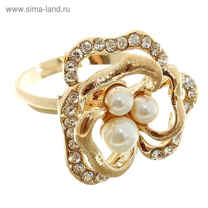 """Кольцо """"Цветочек"""", цвет золото, безразмерное"""