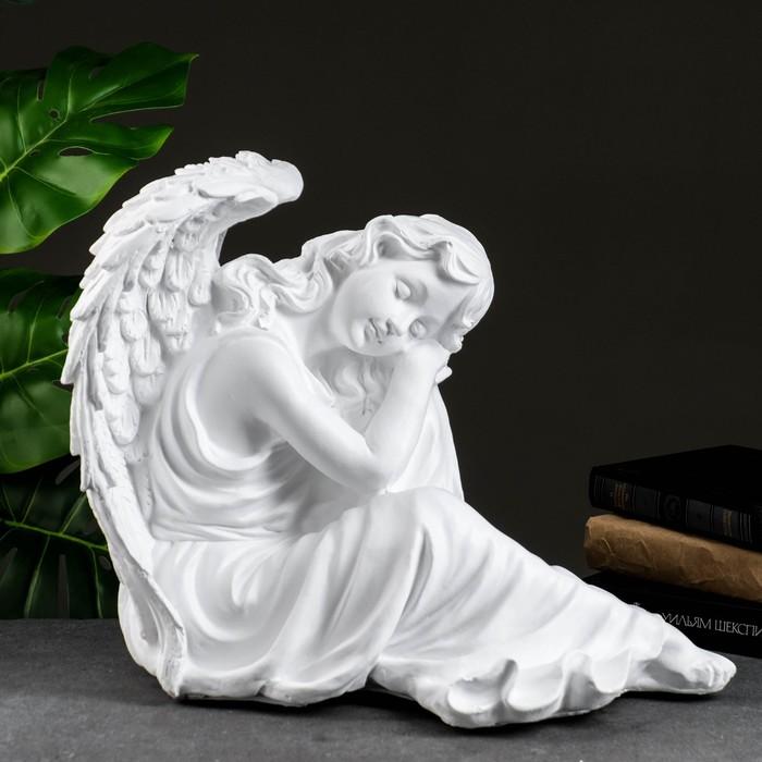 """Статуэтка """"Ангел девушка сидя"""" большая белая"""