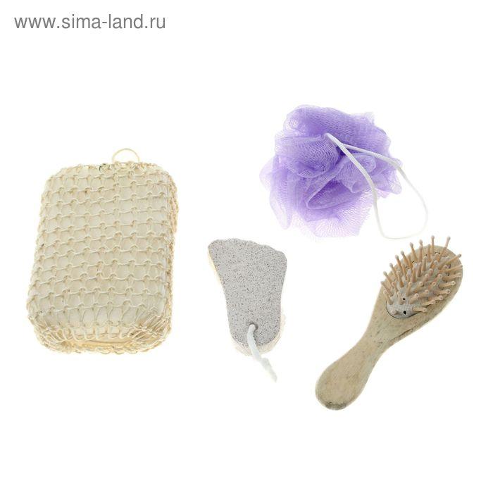 Набор банный в сумке с ручками 4 предмета: 2 мочалки, расческа, пемза, цвет МИКС