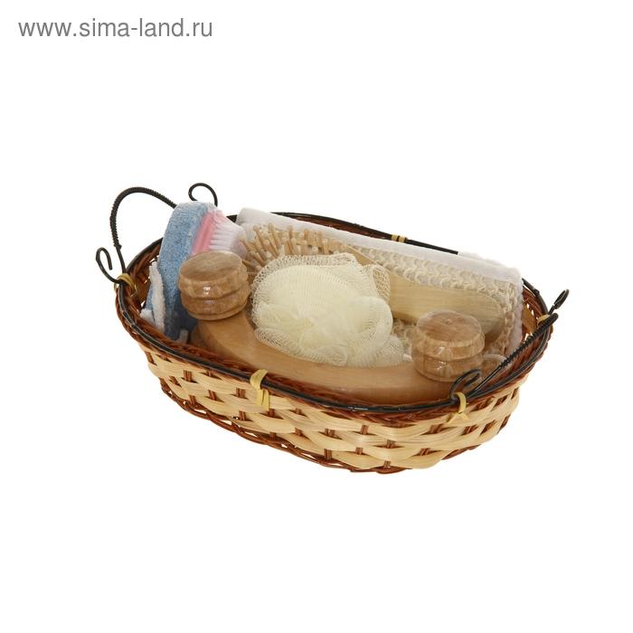 Набор банный в плетеной корзине 5 предметов: 2 мочалки, расческа, пемза-щетка, массажер, цвет МИКС