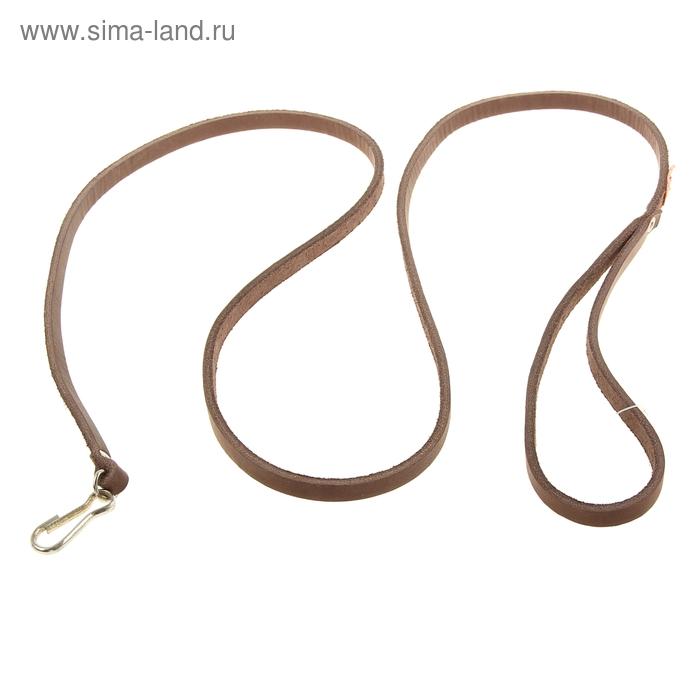 """Поводок кожаный """"Восьмерка"""", 8 мм х 130 см, с карабином, микс"""
