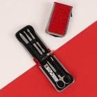 Набор маникюрный в футляре, 6 предметов, цвет красный