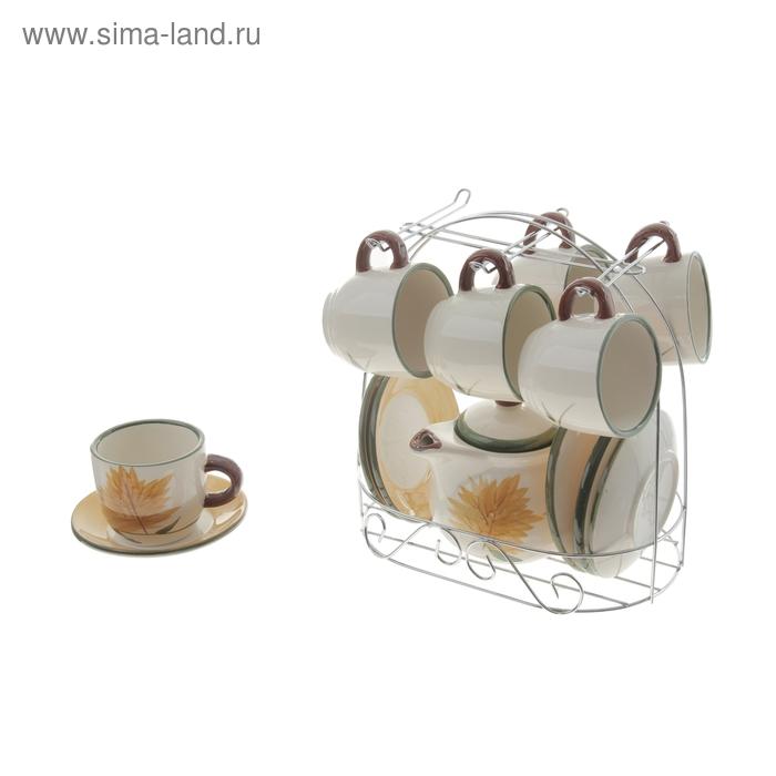 """Сервиз кофейный """"Кленовый лист"""", 13 предметов на подставке: 6 чашек 90 мл, 6 блюдец, чайник 350 мл"""