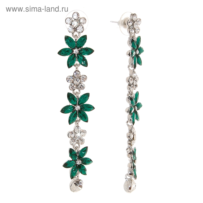 """Серьги """"Райский сад"""", цвет зелёно-белый в серебре"""