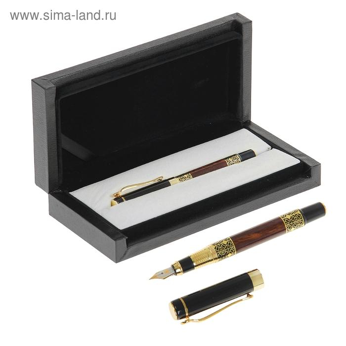 Ручка подарочная перьевая в кожзам футляре VIP черная с вставками под камень с золотым узором