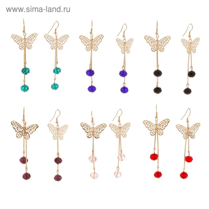 """Серьги-ассорти """"Лёгкое ассорти"""" кристальный полёт, цвета МИКС"""