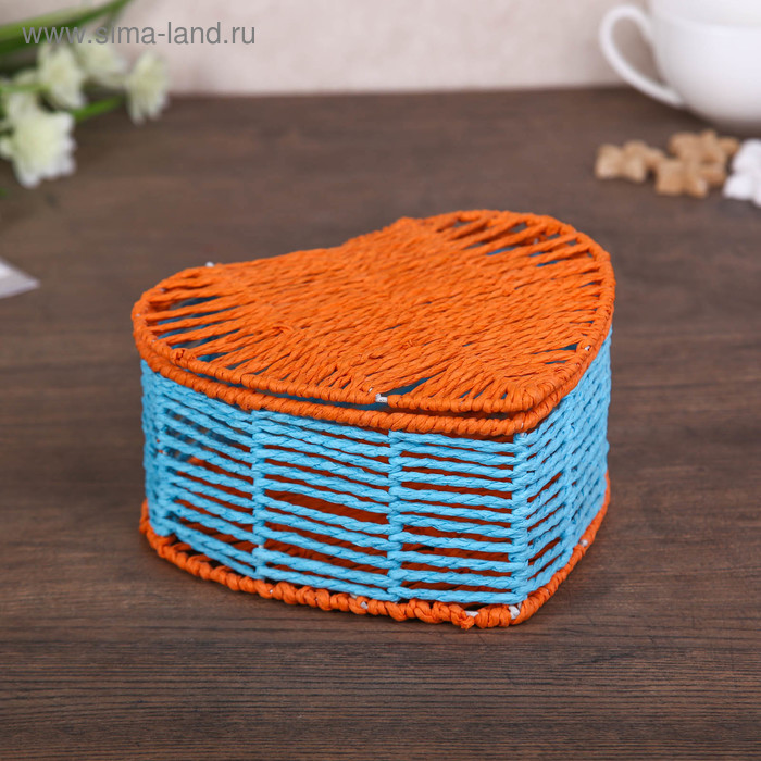 "Шкатулка-сердце ""Оранжево-голубая"""