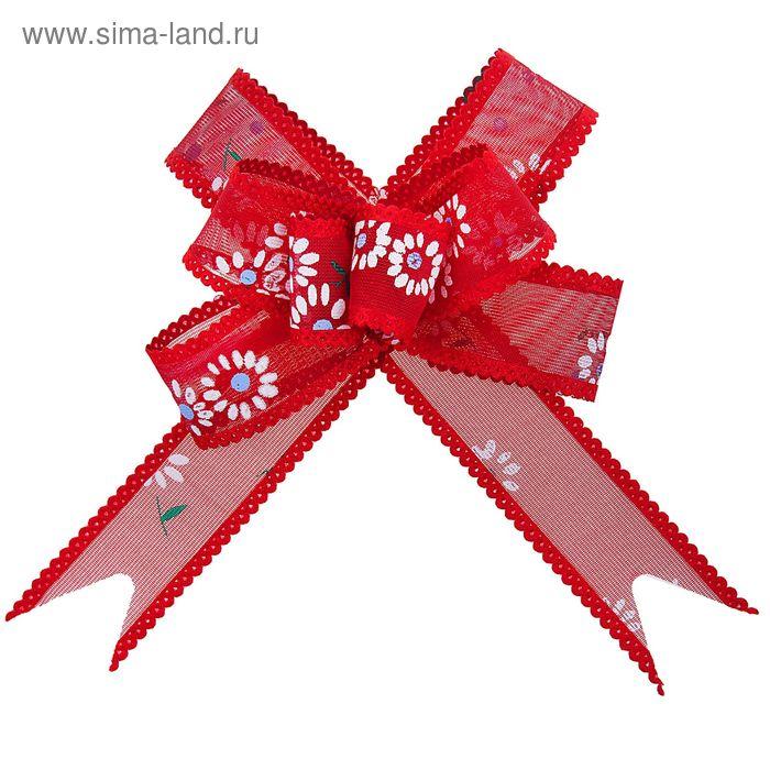 """Бант-бабочка №2,5 """"Ромашки"""", цвет бордовый"""