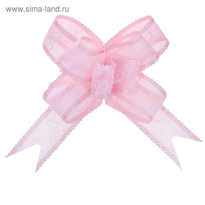 """Бант-бабочка №2,5 """"Сердца и розы"""", цвет розовый"""