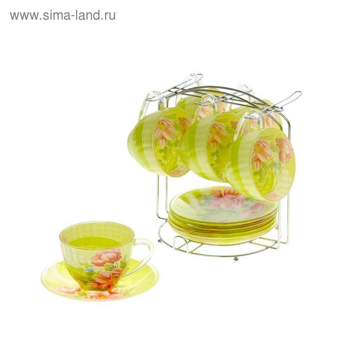 """Сервиз чайный """"Июнь"""", 12 предметов на подставке: 6 чашек 220 мл, 6 блюдец"""