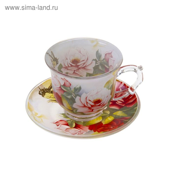 """Набор чайный """"Июль"""", 2 предмета: чашка 220 мл, блюдце"""