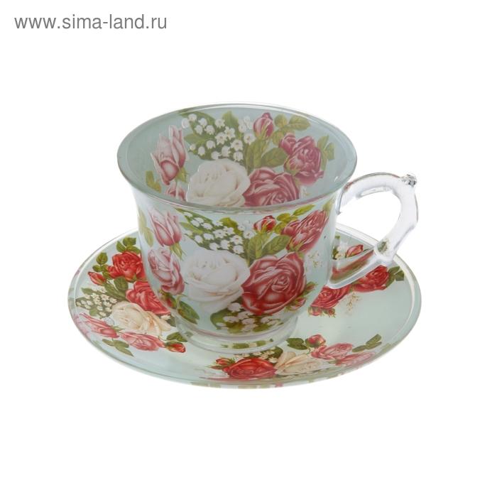 """Набор чайный """"Розовая мечта"""", 2 предмета: чашка 220 мл, блюдце"""