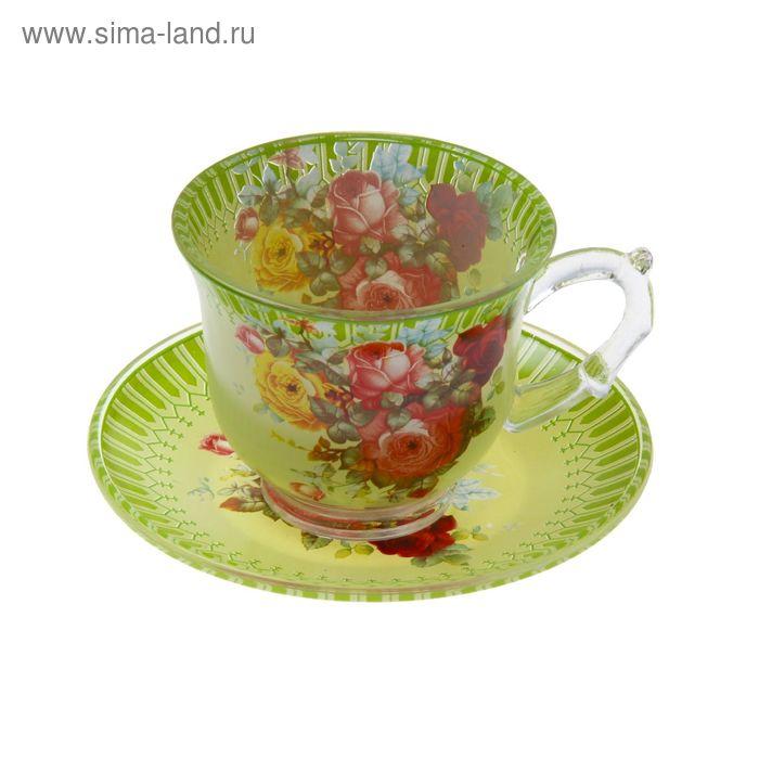 """Набор чайный """"Карусель цветов"""", 2 предмета: чашка 220 мл, блюдце"""