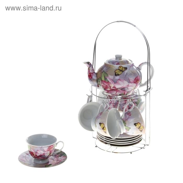 """Сервиз чайный """"Рисунок пастелью"""", 13 предметов на подставке: 6 чашек 220 мл, 6 блюдец, чайник 800 мл"""