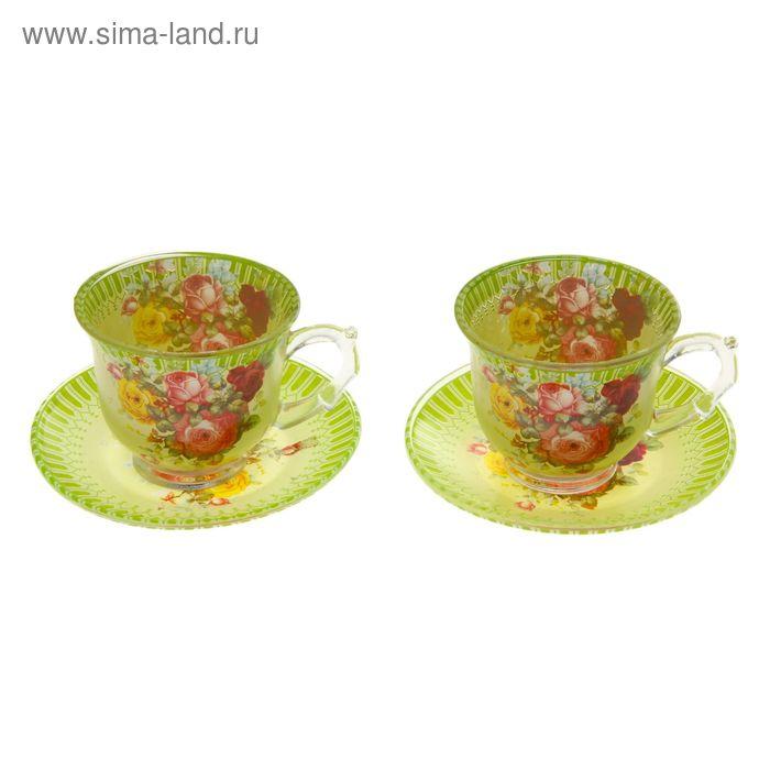 """Сервиз чайный """"Карусель цветов"""", 4 предмета: 2 чашки 220 мл, 2 блюдца"""