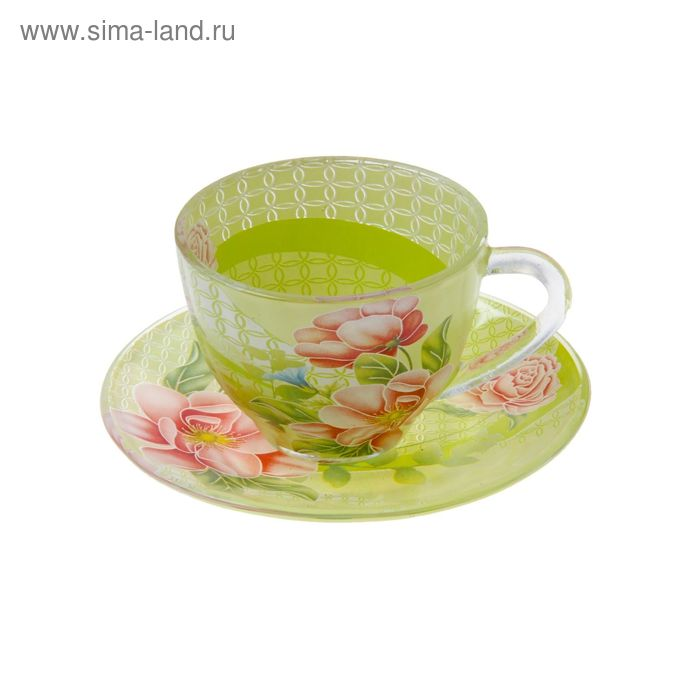 """Набор чайный """"Июнь"""", 2 предмета: чашка 220 мл, блюдце"""