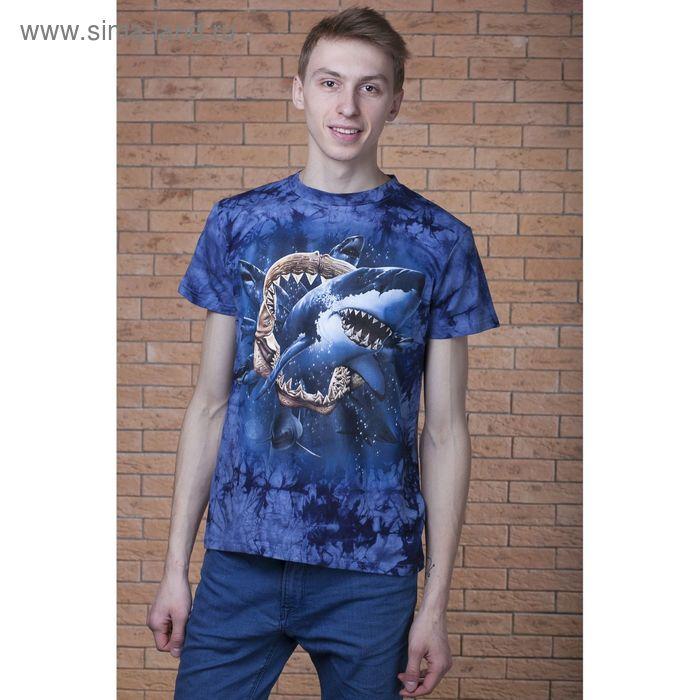 Футболка мужская Collorista 3D Shark pack, размер S (44), цвет синий