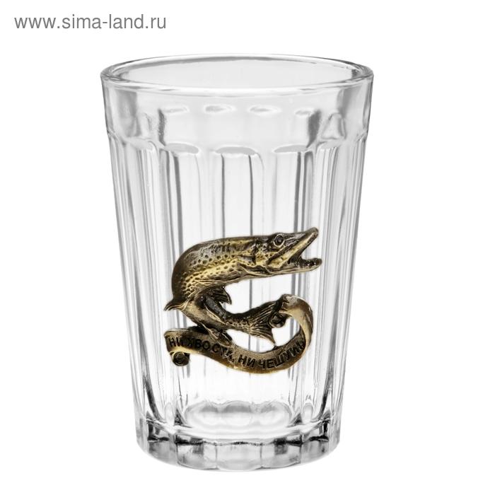 """Граненый стакан """"Ни хвоста, ни чешуи"""" с бляхой (150 мл)"""