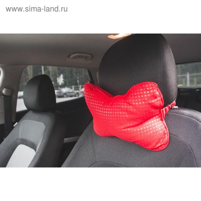 Ортопедическая подушка на подголовник кресла текстиль , пиксели, красный