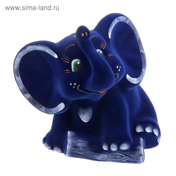 """Копилка """"Слон"""" флок, синяя"""