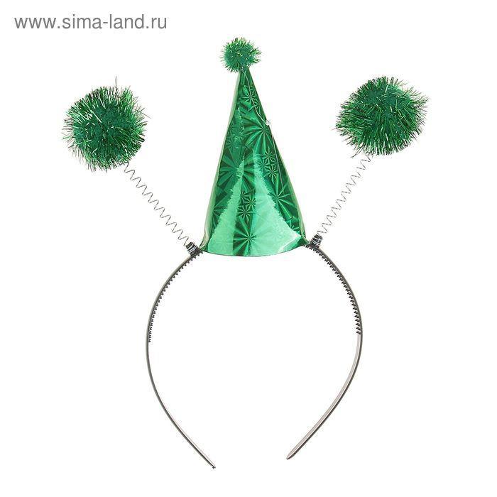 """Карнавальный ободок """"Колпачок с шариками"""", цвета МИКС"""