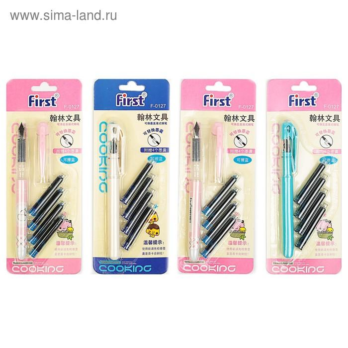 Ручка перьевая +4 картриджа, цвет синий