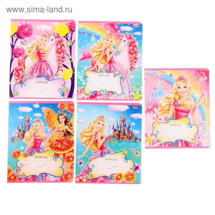 Тетрадь 12 листов клетка Barbie, картонная обложка, блестки, 5 видов МИКС