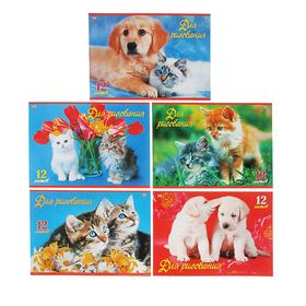 Альбом для рисования А4, 12 листов на скрепке 'Верные друзья', обложка картон 185г/м2, блок офсет 100 г/м2, 5 видов МИКС Ош