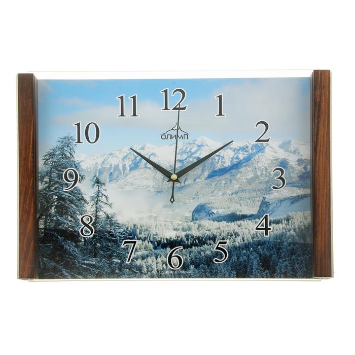 """Часы настенные прямоугольные """"Олимп"""", зимний пейзаж"""