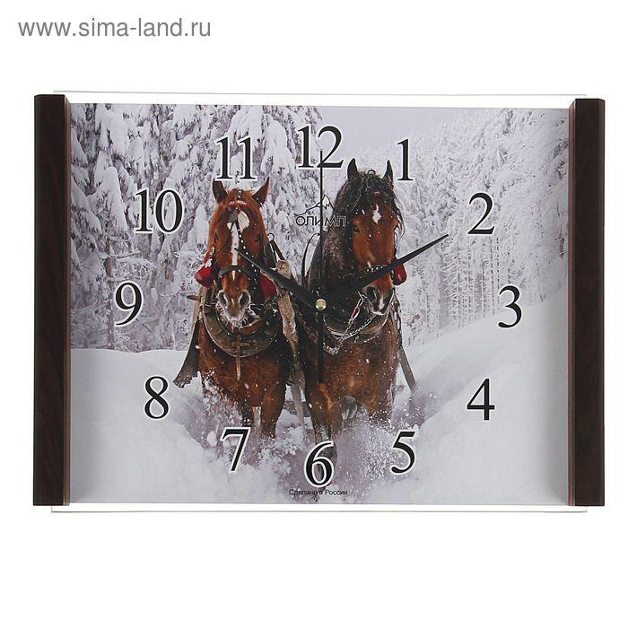 """Часы настенные прямоугольные """"Олимп"""", кони"""