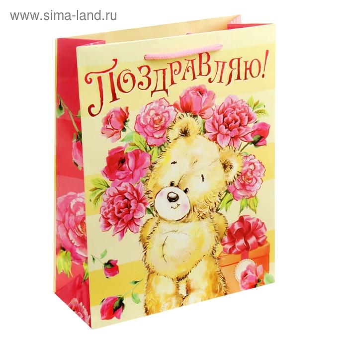"""Пакет подарочный """"Мишка с цветами. Поздравляю"""""""