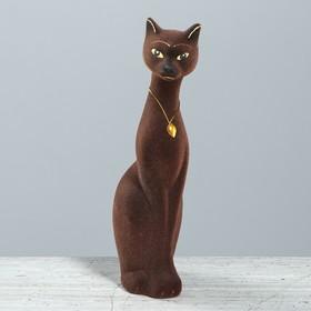 """Копилка """"Кошка Мурка"""" малая, флок, шоколадная"""