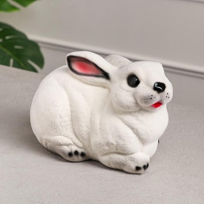 """Копилка """"Заяц"""" флок, цвет белая"""