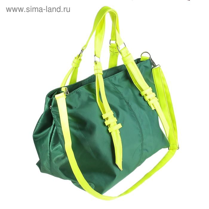 """Сумка женская """"Свежесть"""" 1 отдел, длинный ремень, цвет зеленый"""