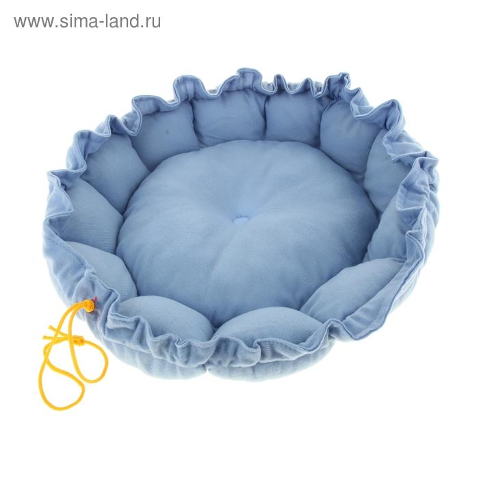 """Лежанка на затяжке """"Гнездо"""", 55 х 8 см, синее"""