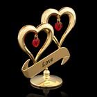 Сувенир «Два сердца», с кристаллами Сваровски, 8,5 см