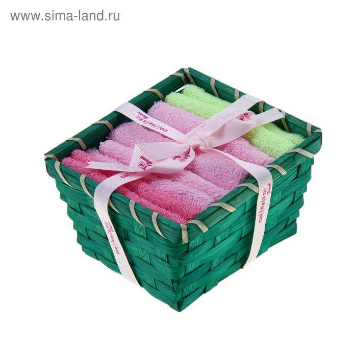 """Набор полотенец в корзинке """"Collorista"""" Pink-mint 30х30шт - 4 шт, хлопок"""