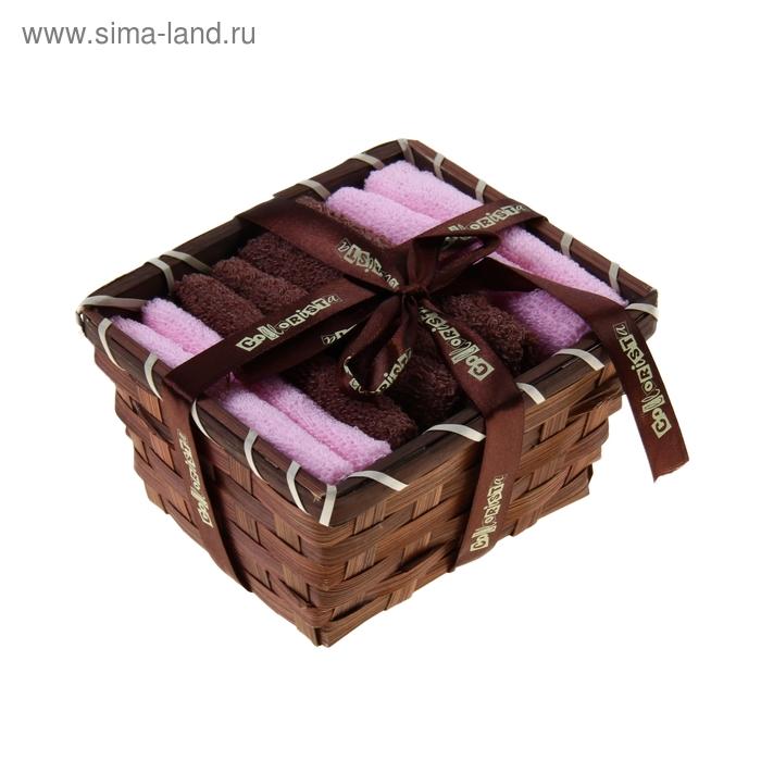 """Набор полотенец в корзинке """"Collorista"""" Chocolate-pink 30х30шт - 4 шт, хлопок"""