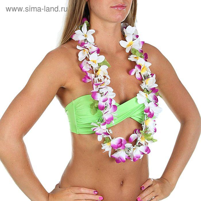 """Гавайское ожерелье """"Ромашки"""", лепестки фиолетово-белые"""