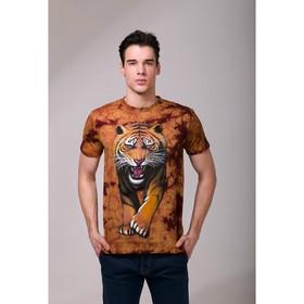Футболка мужская Collorista 3D Tiger, размер XL (50), цвет коричневый