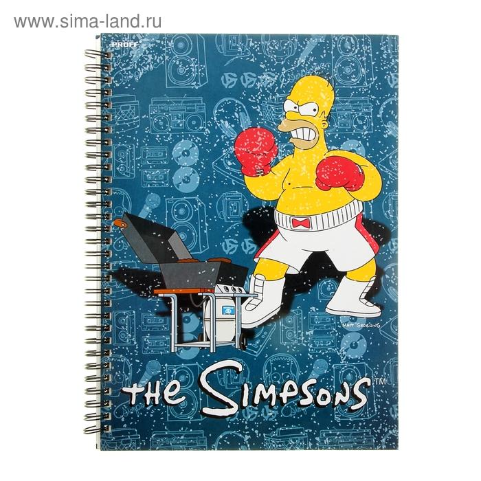 Тетрадь А4, 80 листов клетка на гребне The Simpsons, обложка: офсет тв-глянц-ламинированная