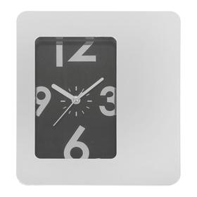 Часы настенные прямоугольные 'Хай-тек' с подставкой, рама хром, циферблат чёрный Ош